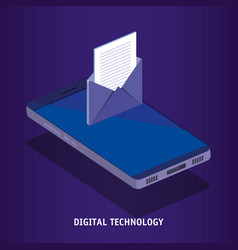 Isometric smartphone and envelope digital vector