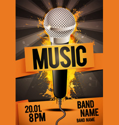 Karaoke party flyer poster design with microphone vector