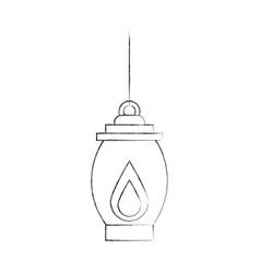 Kerosene lamp light camping antique object vector