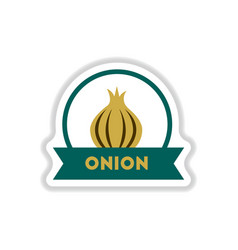 Label icon on design sticker collection onion vector