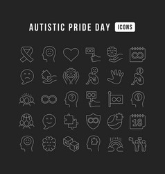 line icons autistic pride day vector image