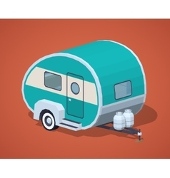 Low poly turquoise retro motor home vector