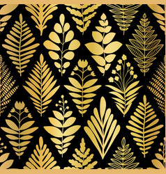 luxury golden art deco floral pattern nature vector image