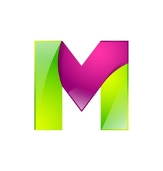 M letter green and pink logo design template vector image