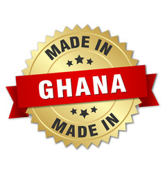 Made in ghana gold badge with red ribbon vector