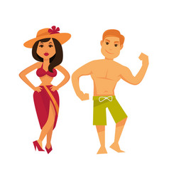 Man and woman in swimsuits isolated on white vector