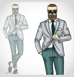 man with skull and beard moustaches vector image