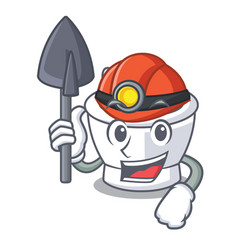 Miner mortar mascot cartoon style vector