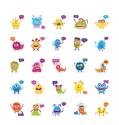 monsters growling and screaming flat icons set vector image