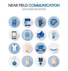 Near field communication technology flat icons set vector