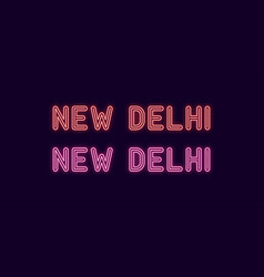 Neon name of new delhi city in india vector
