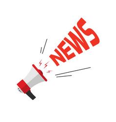 News announcement via bullhorn flat cartoon loud vector