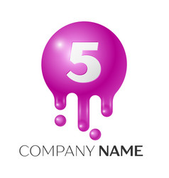 number five splash logo purple dots and bubbles vector image vector image