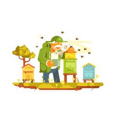 old beekeeper in bee-garden vector image
