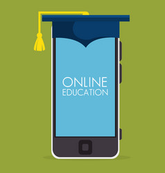 on line education with smartphone vector image