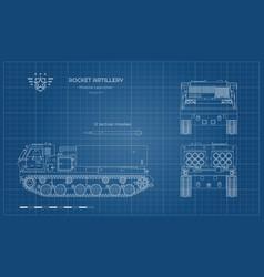 outline blueprint missile vehicle vector image