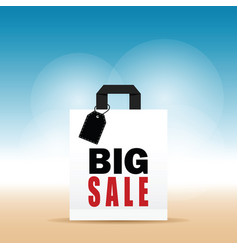 Paper bag white with big sale on it vector