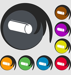 Pencil case icon Symbols on eight colored buttons vector