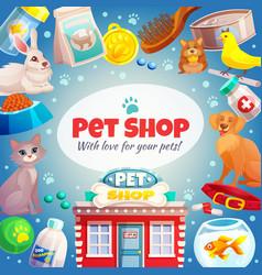Pet shop frame background vector