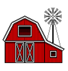 pixel art american farm detailed isolated vector image