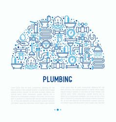 plumbing concept in half circle vector image