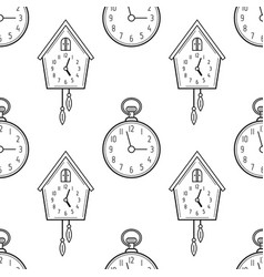pocket watch and cuckoo clock black and white vector image