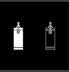 punching bag icon set white color flat style vector image