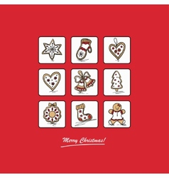 Red greeting card with Christmas gingerbreads vector image