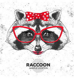 Retro hipster animal raccoon hand drawing muzzle vector