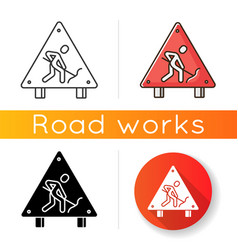 Roadsigns icon road works ahead sign man digging vector