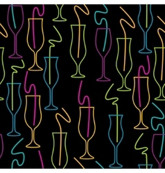 Seamless Pattern of Glasses Neon colors on a vector image