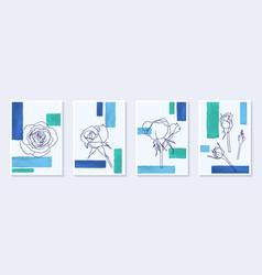 Set creative minimalist hand draw flower rosse vector