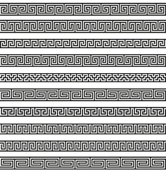 Set different borders greek ornament patterns vector image