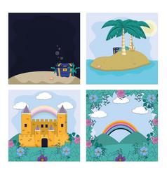 Set magic scenery vector