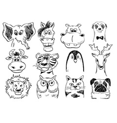 Set Of Funny Sketch Animal Face Icons vector image