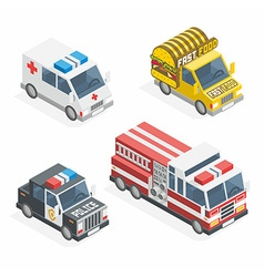Set of the isometric cars vector image