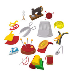 sewing cartoon icon vector image