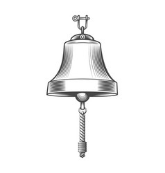 Ship bell engraving emblem vector