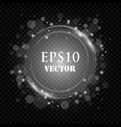 silver frame with lights effects shining vector image