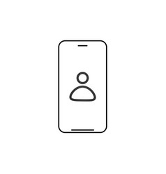 smartphone with contact on screen line icon vector image