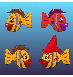 Smiling cartoon fishes vector image