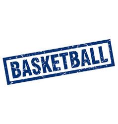 Square grunge blue basketball stamp vector