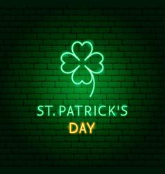 st patricks day clover neon label vector image