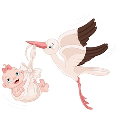 Stork and bagirl vector