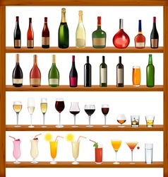 super collection bottles and glasses vector image