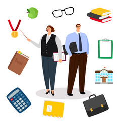teachers and education icons vector image