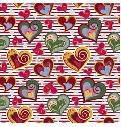 valentine heart seamless background hand vector image