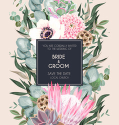 Vintage wedding card with flowers and greenery vector
