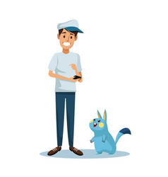 White background with guy and animal avatar social vector