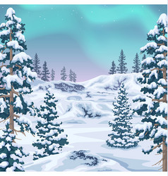 Winter background with aurora borealis vector